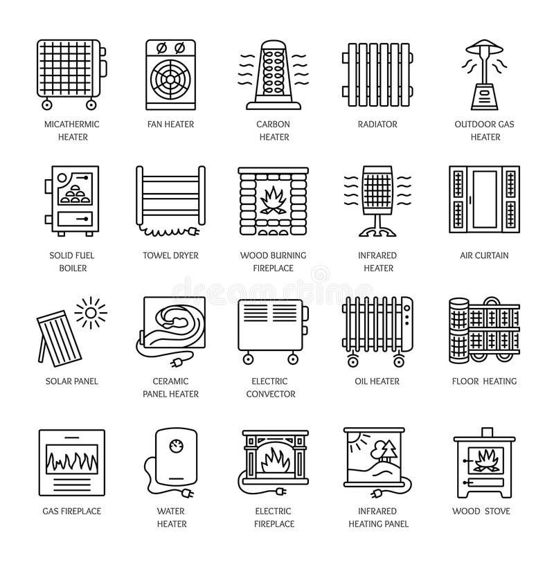 Dirigez la ligne icônes avec le radiateur, le convecteur et la cheminée Heatin illustration libre de droits