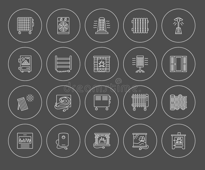 Dirigez la ligne icônes avec le radiateur, le convecteur et la cheminée Heatin illustration stock