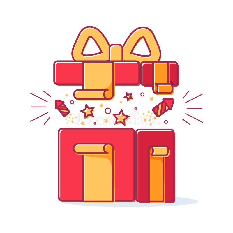 Dirigez la ligne icônes du boîte-cadeau de Noël avec un feu d'artifice Illustration mignonne de boîte-cadeau rouge, concept en ve illustration de vecteur