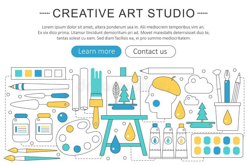 Dirigez la ligne mince élégante concept élégant à plat moderne créatif ou de peintre d'art de Web de studio illustration libre de droits