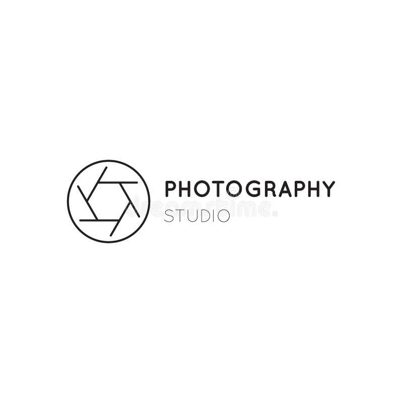 Dirigez la ligne mince icône, silhouette d'obturateur de caméra Calibre de logo illustration de vecteur