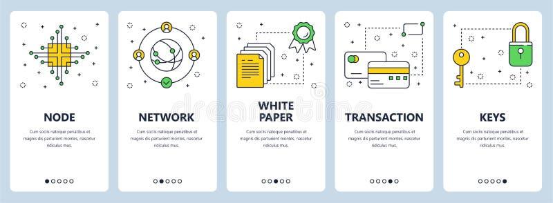 Dirigez la ligne mince moderne bannières de Web de concept de bitcoin illustration de vecteur