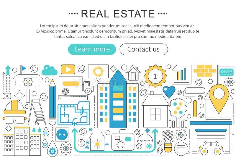 Dirigez la ligne moderne concept plat de propriété d'immobiliers de conception En-tête de site Web d'icônes d'immobiliers, banniè illustration stock