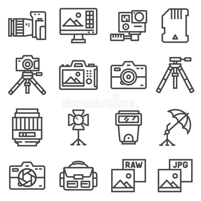 Dirigez la ligne photographie, équipement, courrier-production, imprimant des icônes réglées illustration de vecteur