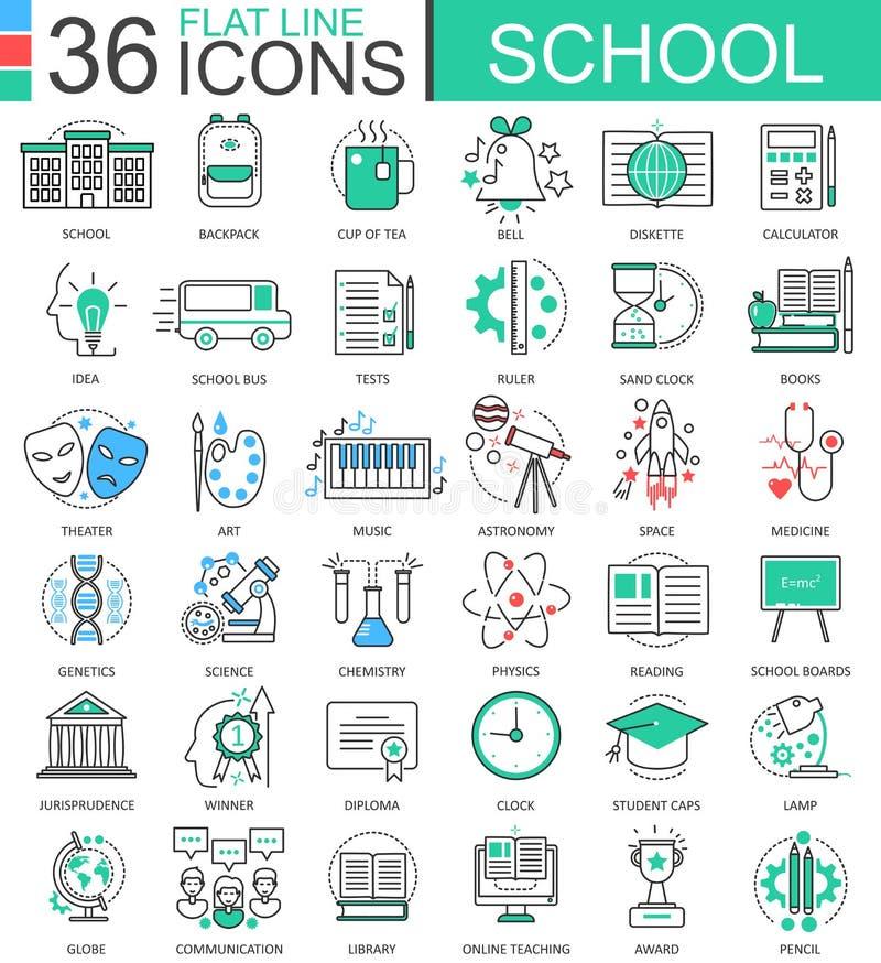 Dirigez la ligne plate de couleur d'école icônes d'ensemble pour des apps et le web design L'éducation d'école usine des icônes illustration libre de droits