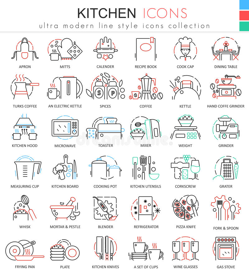 Dirigez la ligne plate de couleur de cuisine icônes d'ensemble pour des apps et le web design La cuisine usine des icônes illustration libre de droits