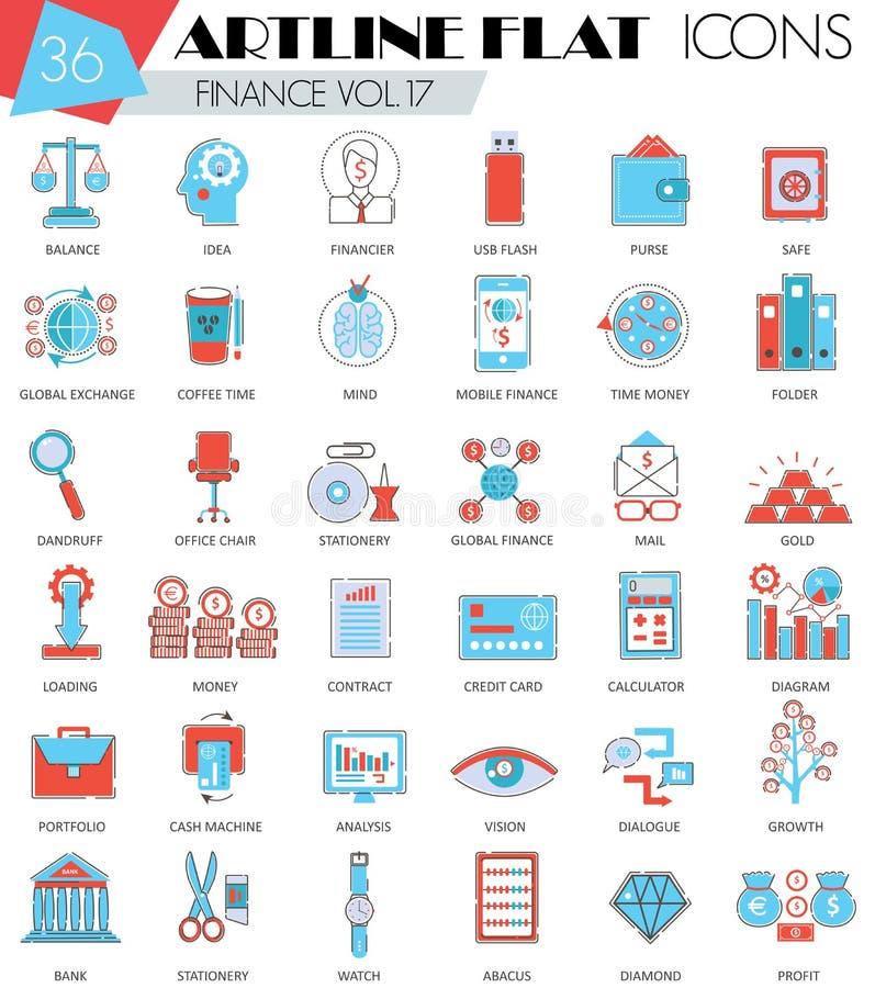 Dirigez la ligne plate icônes d'artline ultra moderne d'ensemble de finances pour le Web et les apps illustration stock