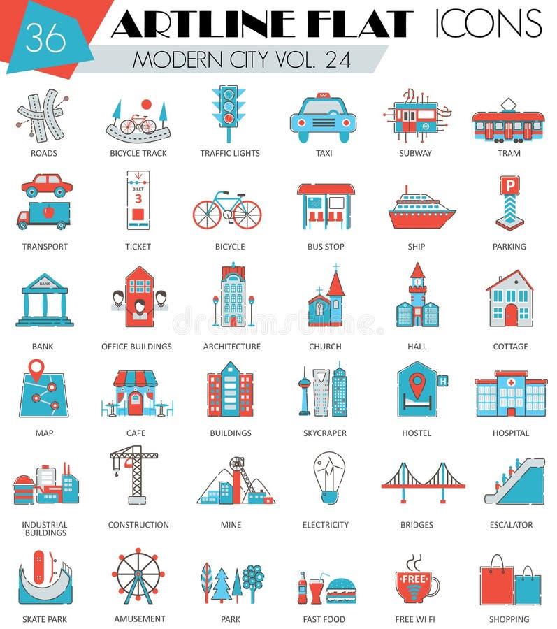 Dirigez la ligne plate icônes de ville d'artline ultra moderne moderne d'ensemble pour le Web et les apps illustration libre de droits