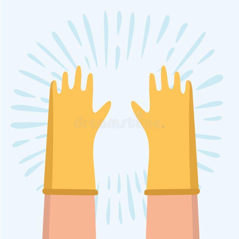 Dirigez la main portant le gant en caoutchouc bleu sur le fond blanc illustration libre de droits