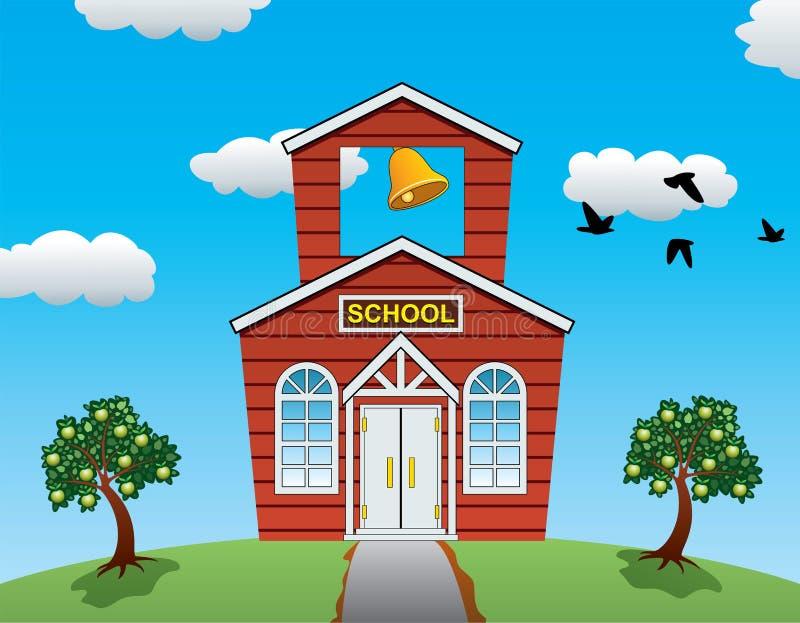 dirigez la maison d'école, les pommiers, les nuages et les oiseaux illustration stock