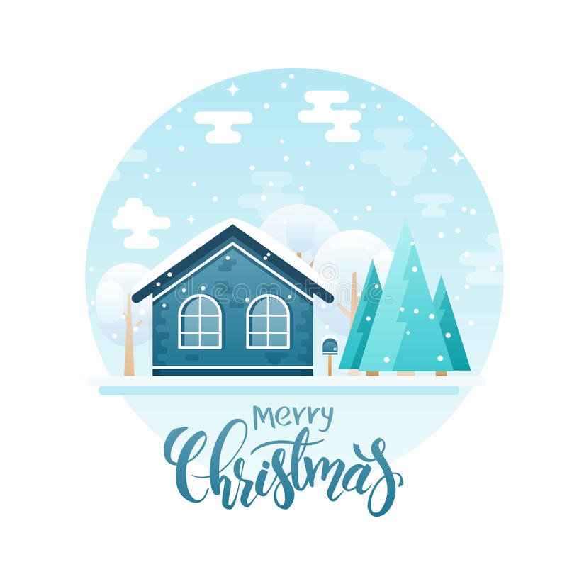 Dirigez la maison de campagne plate de style avec des sapins et les arbres avec la citation de lettrage - Joyeux Noël Il neige ma illustration stock