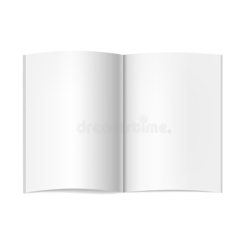 Dirigez la maquette ouverte réaliste de livre, de journal ou de magazine avec la feuille d'A4 illustration de vecteur