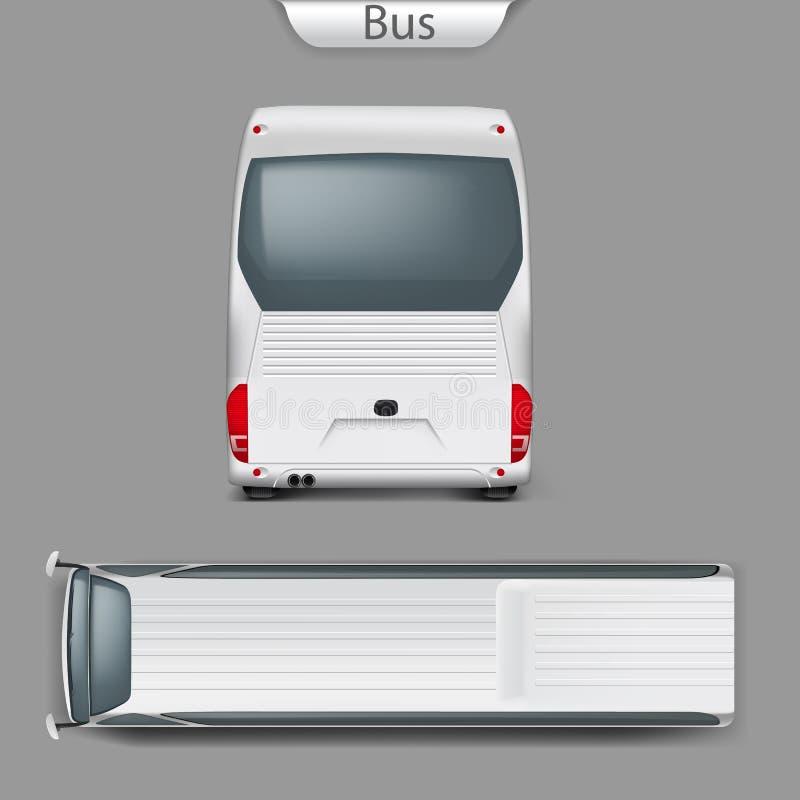 Dirigez la maquette réaliste d'autobus d'entraîneur arrière, vue supérieure illustration de vecteur