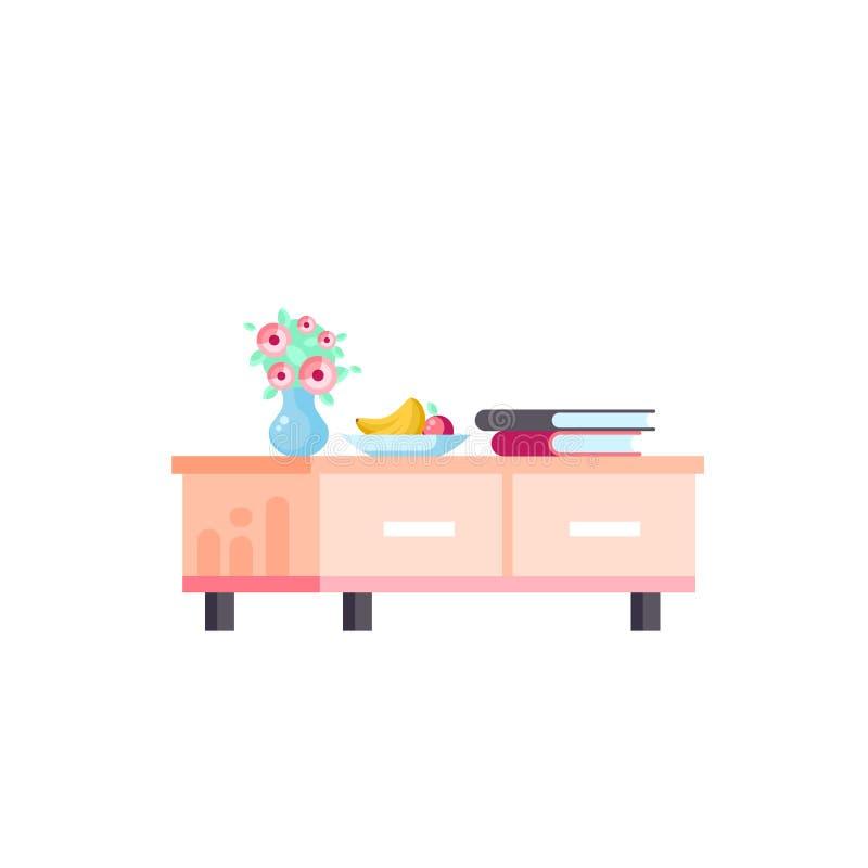Dirigez la margelle d'isolement de meubles d'icône d'illustration, coffre de style plat de support des tiroirs TV illustration libre de droits