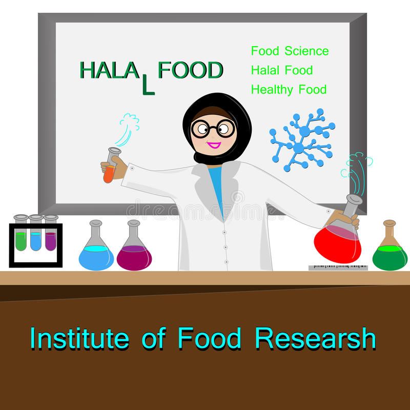 Dirigez la nourriture halal d'expérience musulmane sur la pièce de laboratoire illustration libre de droits