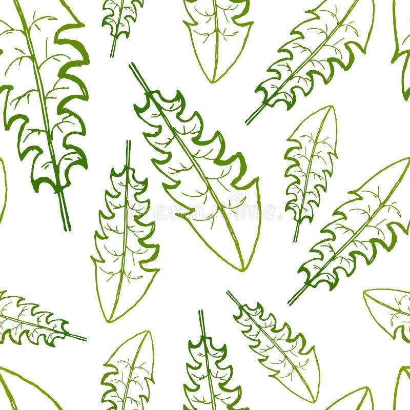 Dirigez la peinture du fond sans couture de modèle d'herbe verte avec tiré par la main illustration de vecteur