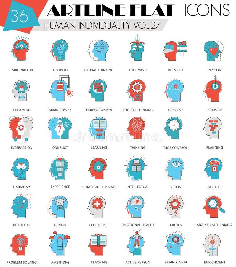 Dirigez la personnalité humaine de mentalité et l'individualité comporte la ligne plate icônes d'artline ultra moderne d'ensemble illustration libre de droits