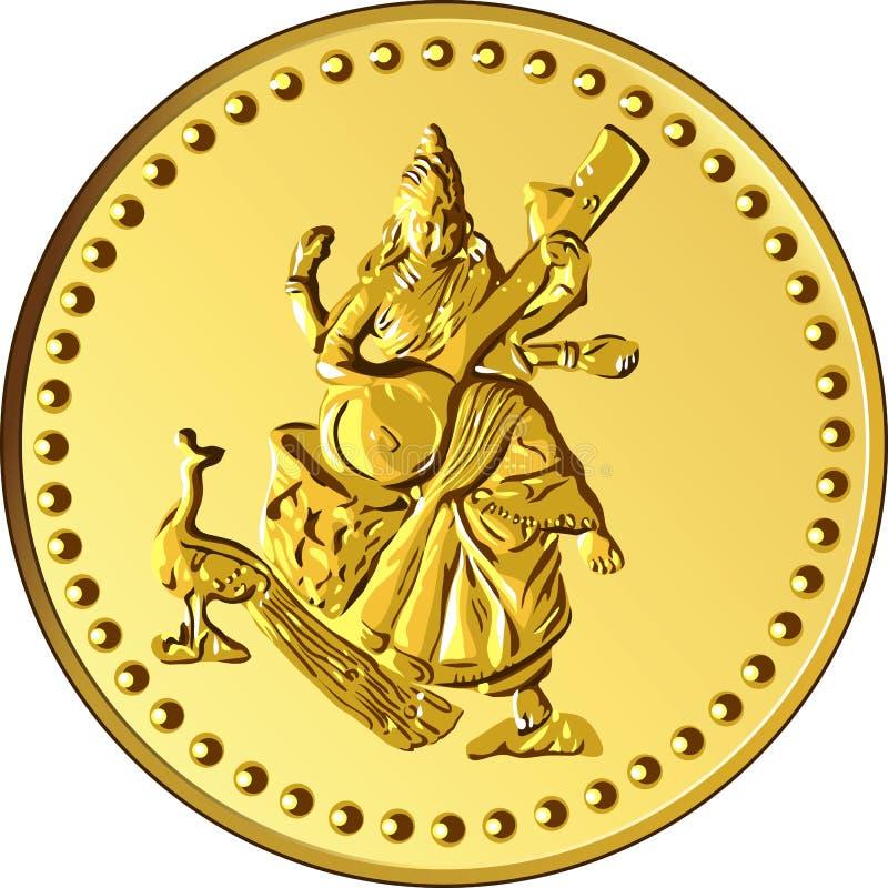 dirigez la pièce d'or d'argent avec l'image de Shiva illustration de vecteur