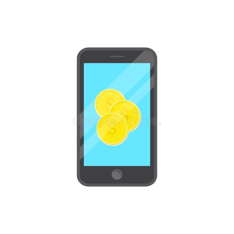 Dirigez la pièce de monnaie de conception au téléphone intelligent, la pièce de monnaie plate de conception de style et le fond b illustration de vecteur