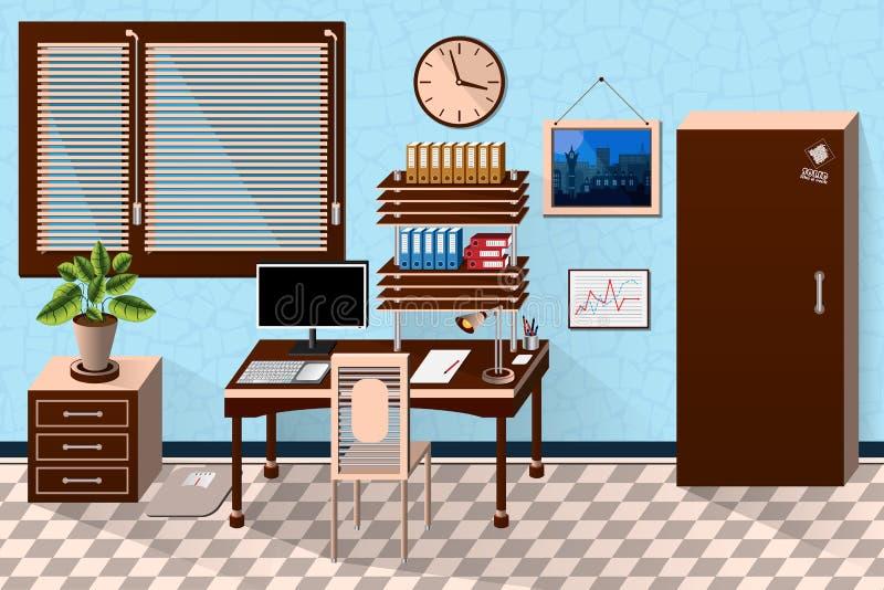 Dirigez la pièce intérieure de bureau dans le style en bois sombre