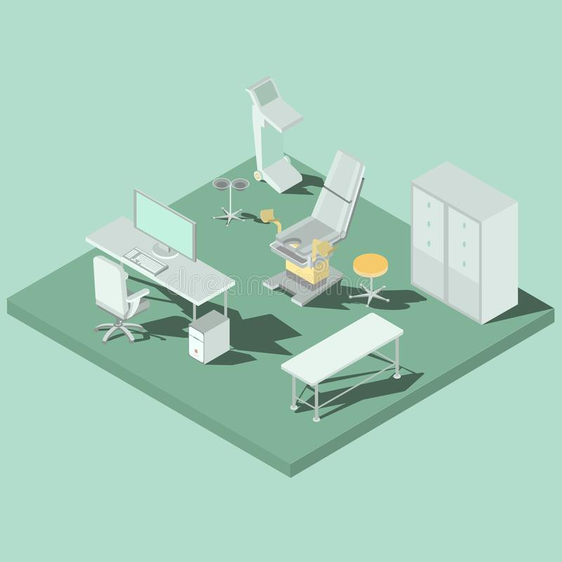 Dirigez la pièce isométrique de gynécologie avec la chaise gynécologique, matériel médical illustration libre de droits
