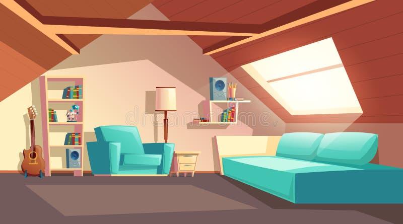 Dirigez la pièce vide de mansarde de bande dessinée, intérieur de grenier illustration de vecteur