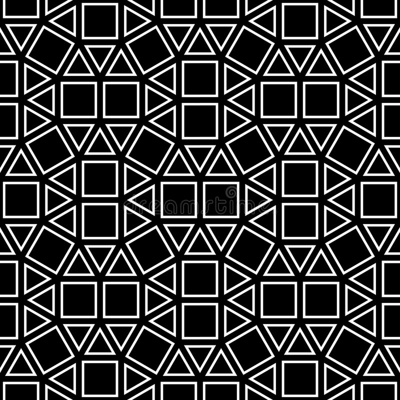 Dirigez la place abstraite de modèle de la géométrie de hippie, le fond géométrique sans couture noir et blanc, l'oreiller subtil illustration libre de droits