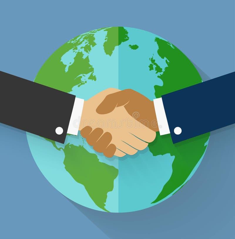 Dirigez la poignée de main sur le globe de la terre dans le style plat illustration de vecteur