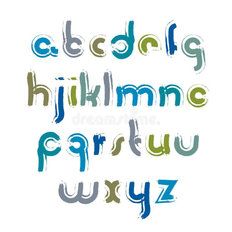 Dirigez la police calligraphique lumineuse avec le contour blanc, manuscrit illustration de vecteur