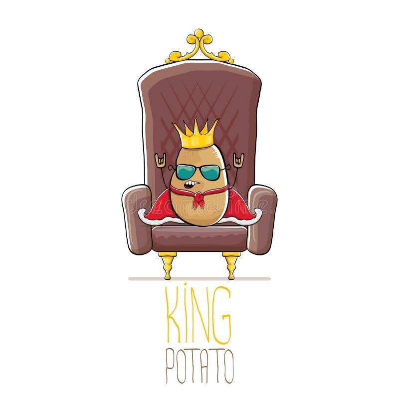 Dirigez la pomme de terre de sourire brune mignonne fraîche de roi de bande dessinée drôle avec la couronne royale d'or et le man illustration de vecteur