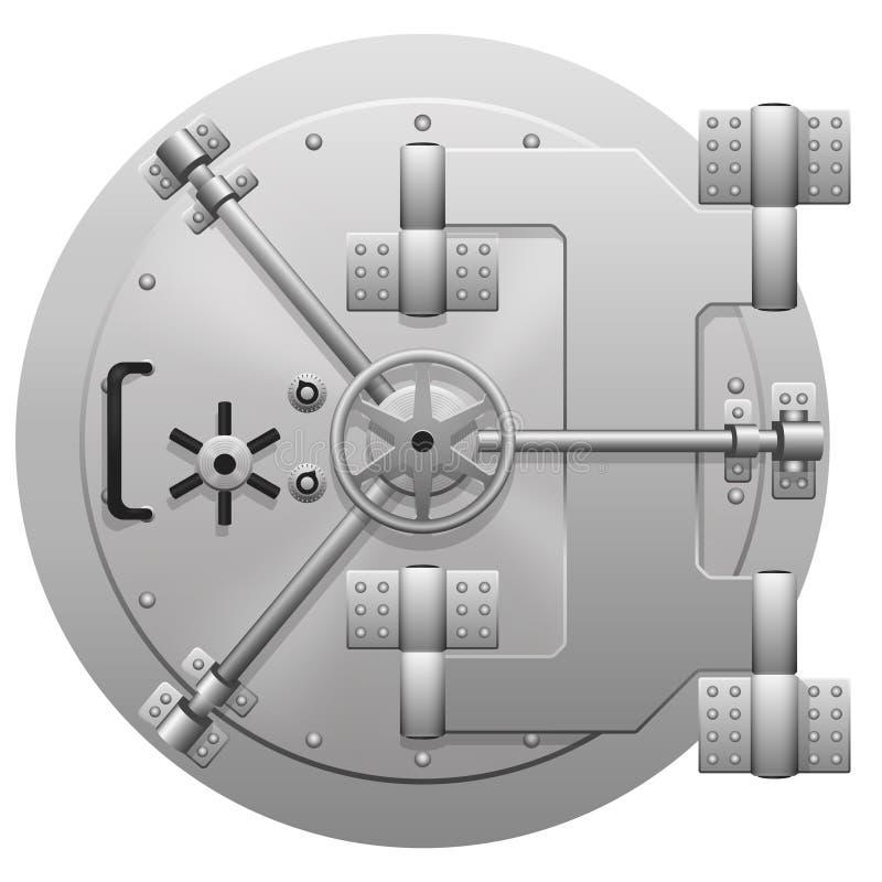 Dirigez la porte métallique de chambre forte de banque d'isolement sur le fond blanc illustration stock