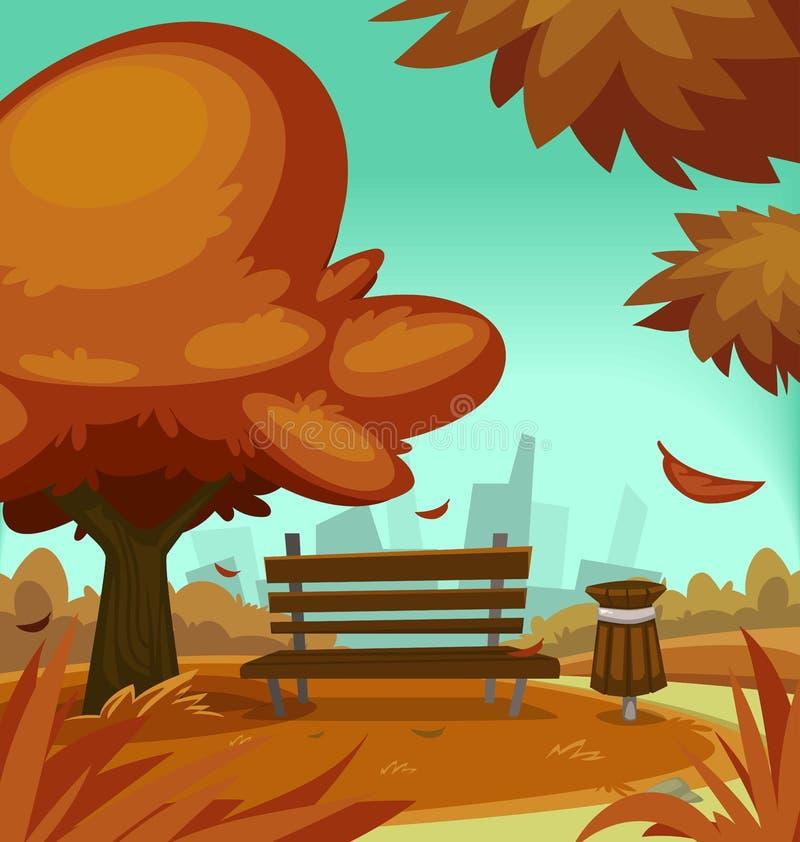 Dirigez la poubelle de banc d'étirage d'illustration de scène d'automne de parc d'automne de bande dessinée illustration stock