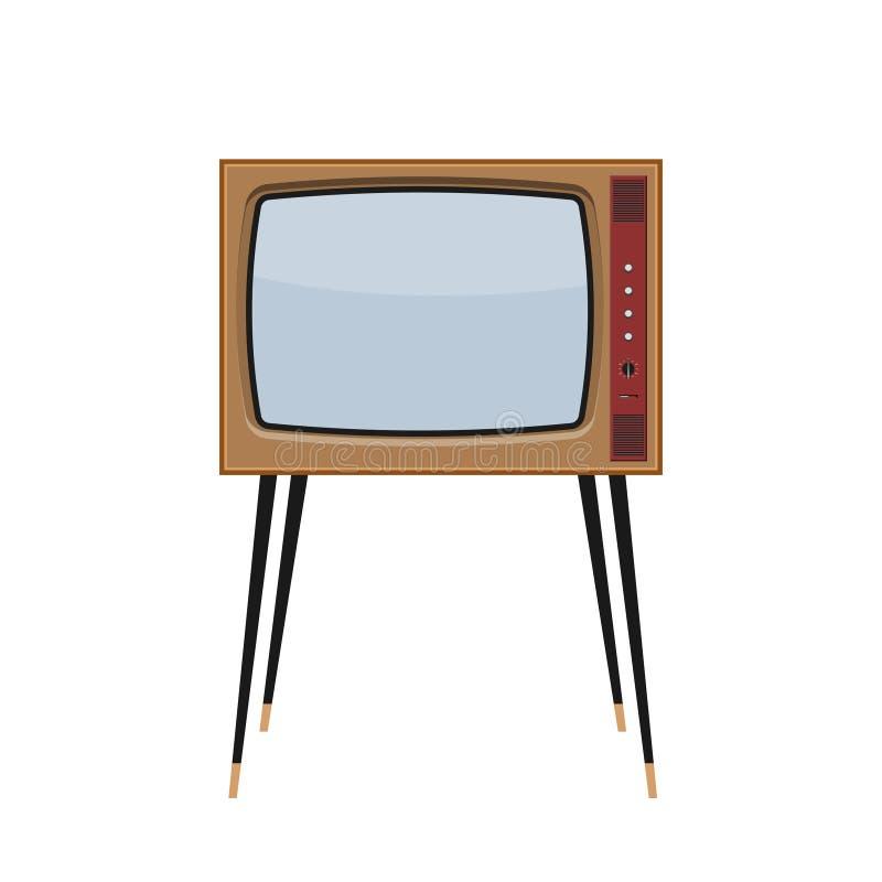 Dirigez la rétro TV avec le cas en bois et l'écran vide D'isolement sur le fond blanc illustration stock