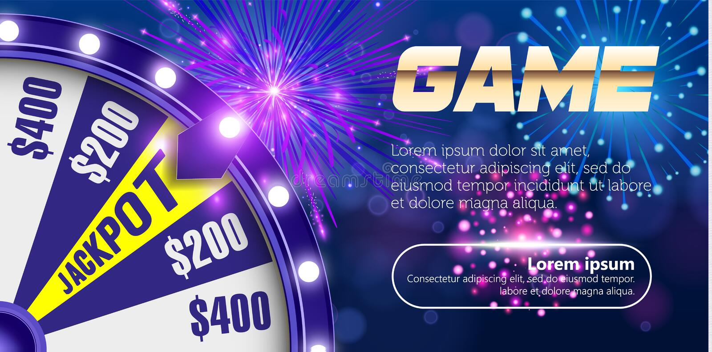 Dirigez la roue de fortune, concept de construction en ligne de casino objet 3d sur le fond bleu circulaire defocused abstrait de illustration libre de droits