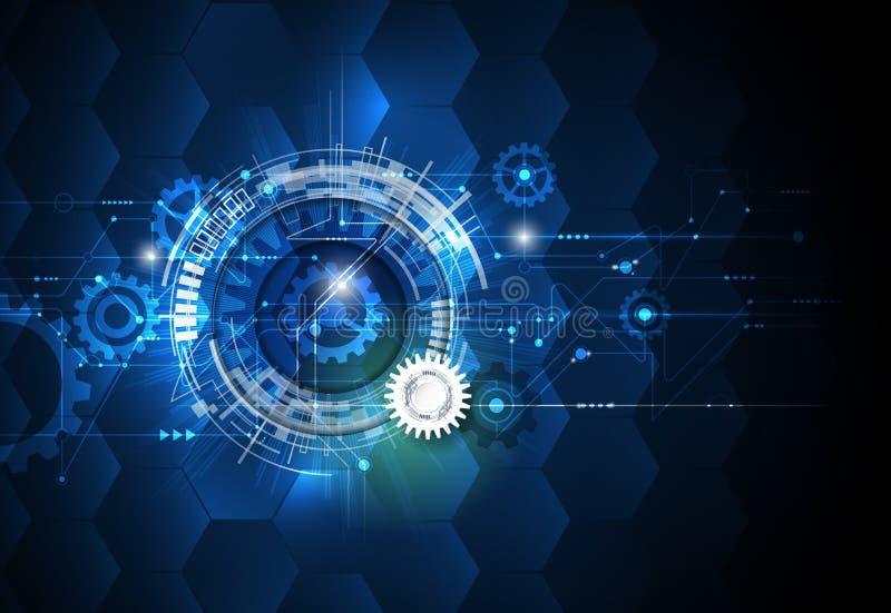 Dirigez la roue de vitesse d'illustration, les hexagones et la carte, la technologie numérique de pointe et l'ingénierie illustration de vecteur