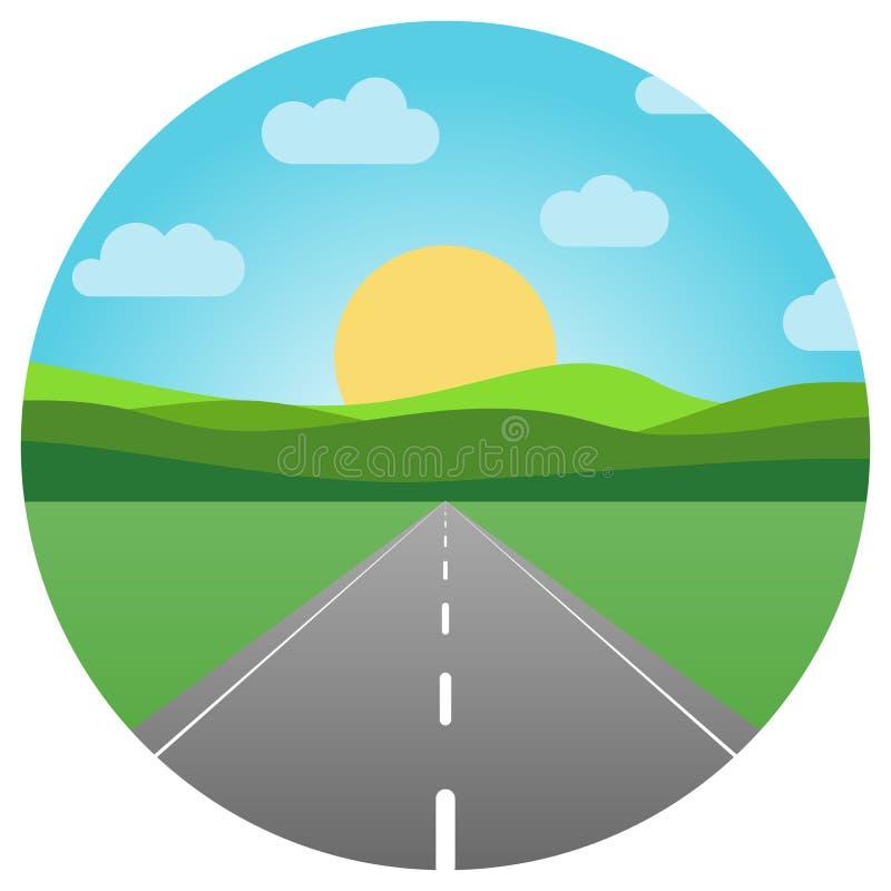 Dirigez la route goudronnée partant dans l'horizon illustration stock