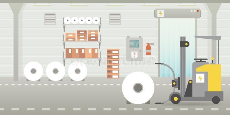 Dirigez la scène vide intérieure de hangar d'entrepôt dans le style plat illustration libre de droits