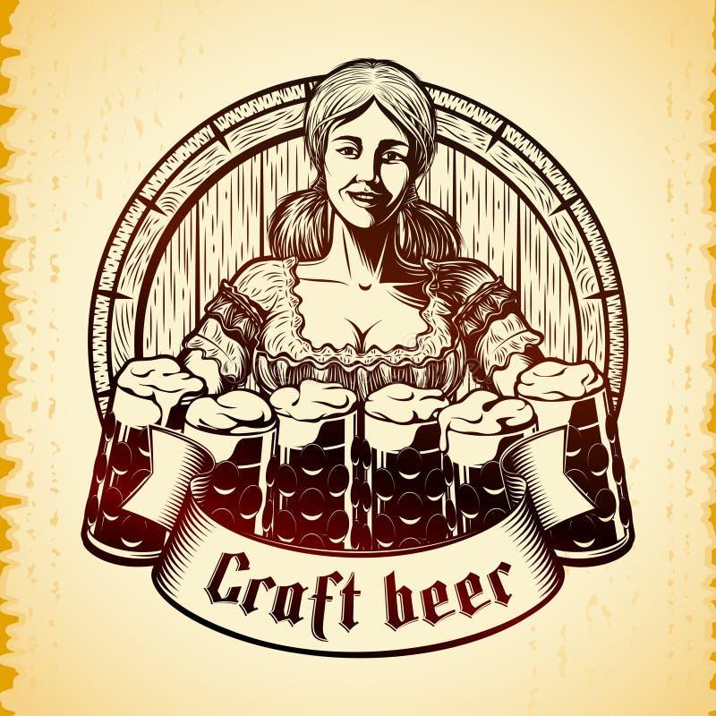 Dirigez la serveuse bavaroise Craft Beer Glass de fille d'Oktoberfest gravant le cru illustration de vecteur