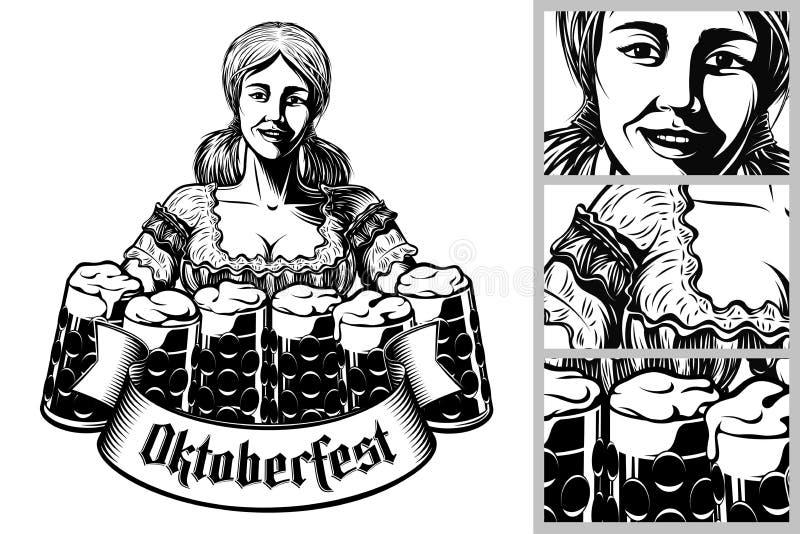 Dirigez la serveuse bavaroise Foam Lager Beer Glass Engraving de fille d'Oktoberfest illustration libre de droits