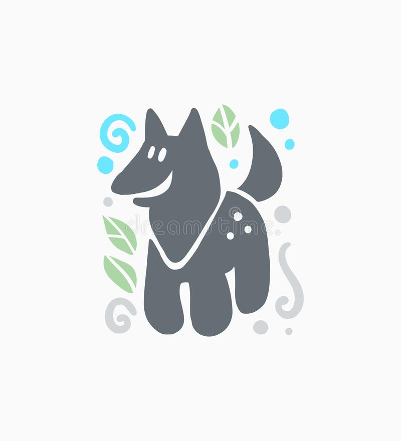 Dirigez la silhouette animale de sourire tirée par la main drôle mignonne plate de loup d'isolement sur le fond blanc illustration de vecteur