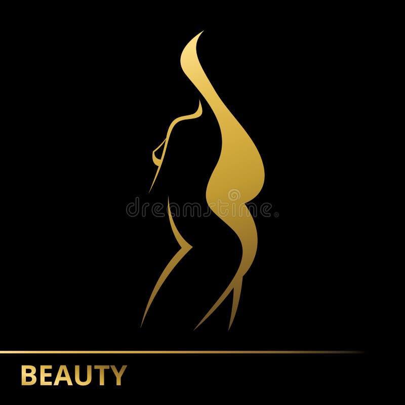 Dirigez la silhouette d'un logo de calibre de fille ou d'un concept abstrait illustration libre de droits