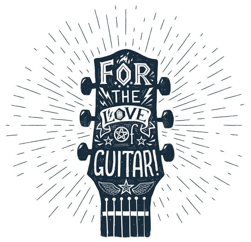 Dirigez la silhouette tirée par la main de fretboard de guitare avec le lettrage à l'intérieur illustration stock