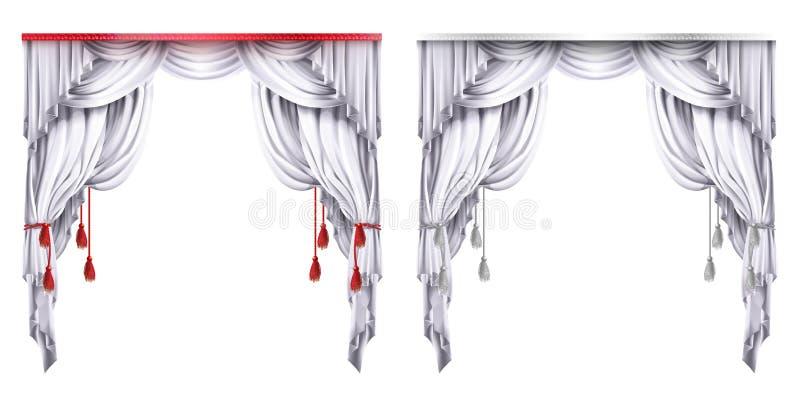 Dirigez la soie, le velours drape avec les glands rouges ou blancs Rideau théâtral avec des plis Concept pour la présentation, dé illustration stock
