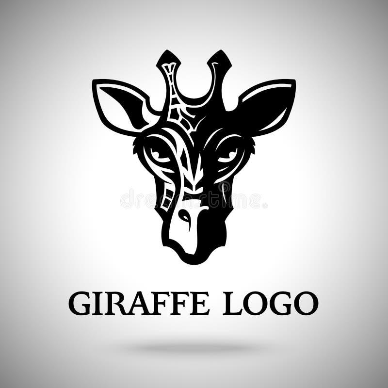 Dirigez la tête foncée de girafe, le calibre pour le logo, l'insigne, le label etc. illustration stock