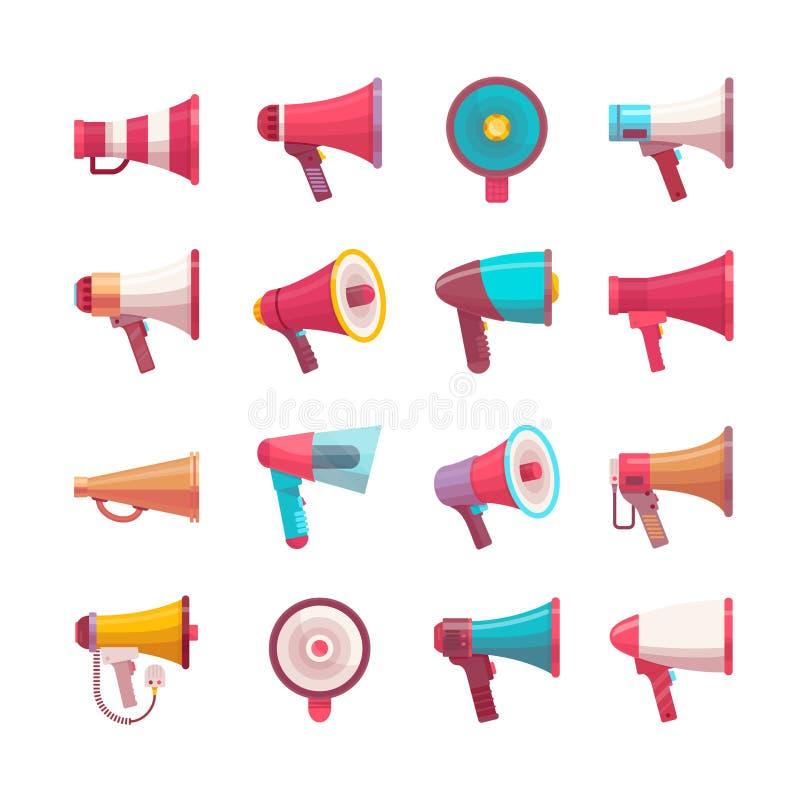 Dirigez la taille méga modèle différente parlante d'illustration de voix plate de mégaphone de contrôle de haut-parleur de volume illustration libre de droits