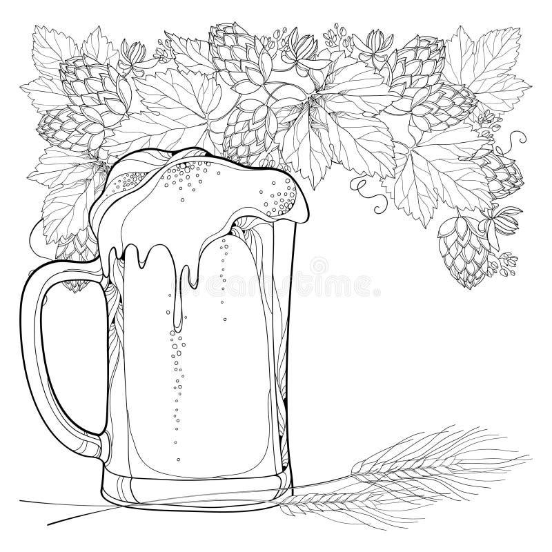Dirigez la tasse de bière avec les houblon ou le Humulus et les oreilles fleuries de blé dans le noir sur le fond blanc Élément d illustration libre de droits