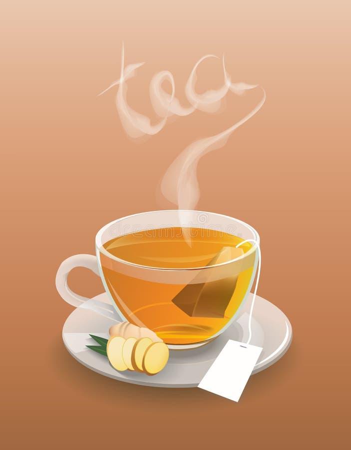 Dirigez la tasse de thé sur un fond blanc image libre de droits