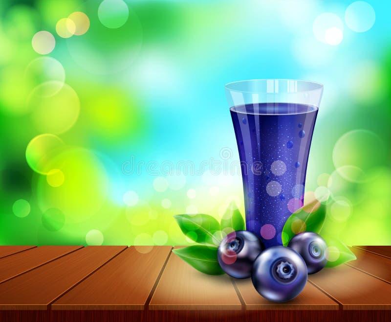 Dirigez la tasse en verre avec du jus des myrtilles se tenant sur un en bois illustration de vecteur