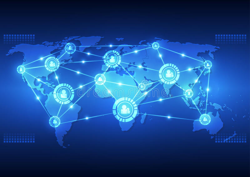 Dirigez la technologie numérique de télécommunication mondiale, fond abstrait illustration libre de droits