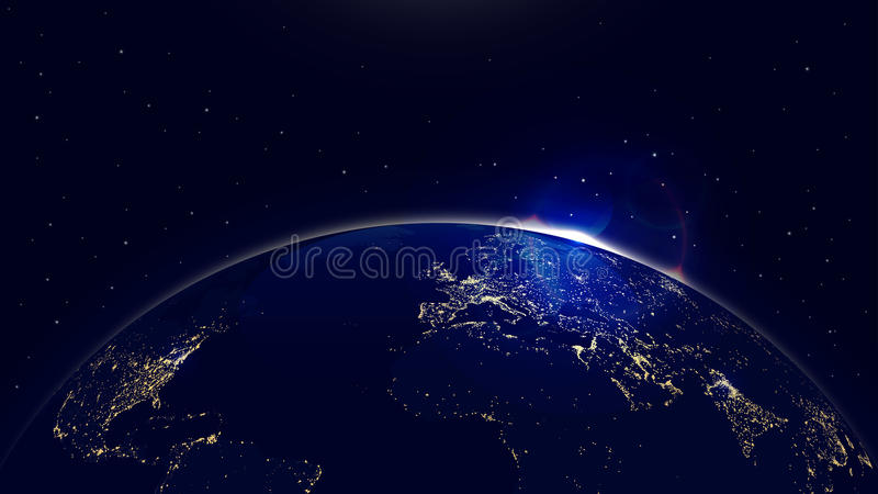 Dirigez la terre de planète de fond avec le lever de soleil dans des lumières de l'espace et de ville illustration libre de droits
